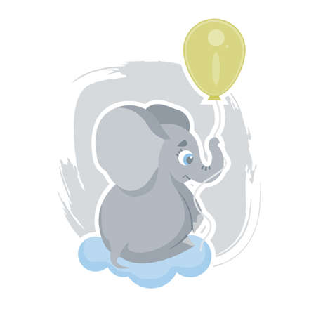 Cute cartoon elephant flying on a yellow balloon, can be used as a print on children s clothing, vector Stock Illustratie