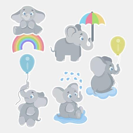Cute cartoon baby elephants. Animals african safari animals vector set. Elephant african cartoon, happy friendly animal illustration, vector format Stock Illustratie