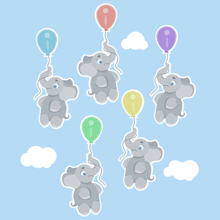 cartoon illustrating with little elephants flying holding a colorful balloon, can be used as a print on children s clothing Stock Illustratie