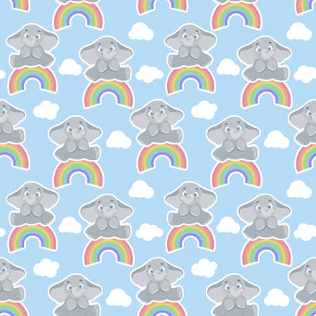 Seamless, endless pattern with elephant sitting on a rainbow, can be used as a print on children s clothing, vector