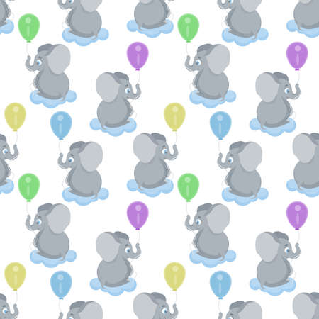 Seamless, endless pattern with elephant flying holding a colorful balloon, can be used as a print on children s clothing