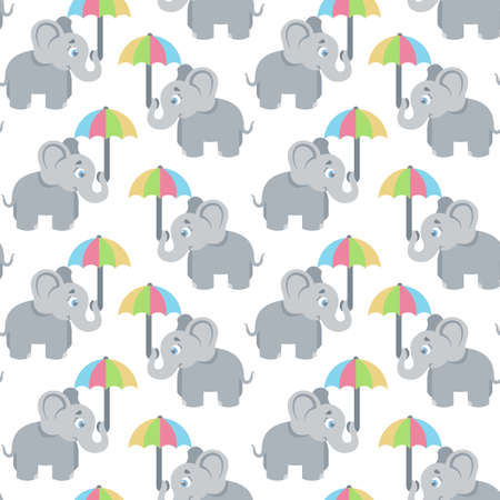 Seamless, endless pattern. elephant holds the umbrella with its trunk, can be used as a print on children s clothing