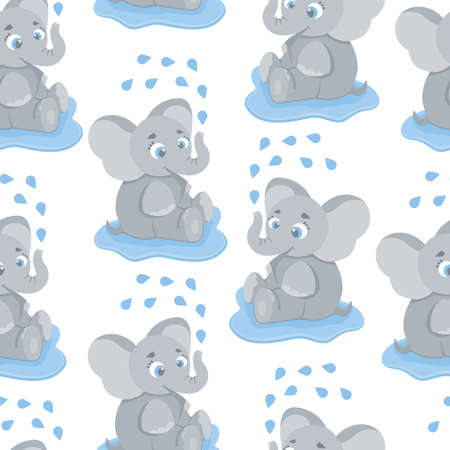 Seamless, endless pattern with elephant sitting in a puddle and washing, can be used as a print on children s clothing