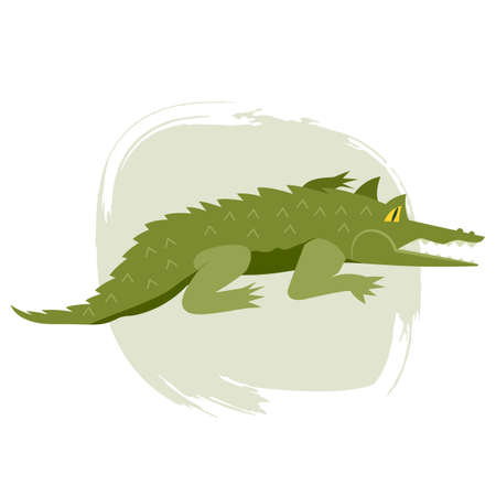 Alligator or crocodile on light background Hand drawn vector illustration with brush decorative element
