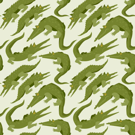 Seamless, endless pattern with menacing alligators or crocodiles, can be used as a print on children s clothing