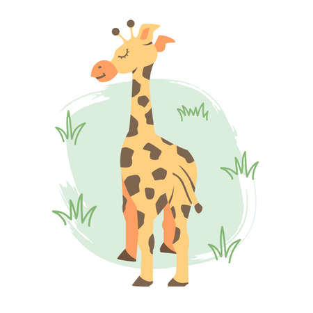 Cute colorful giraffe of cartoon style illustration isolated on light background, vector eps 10 illustration Stock Illustratie