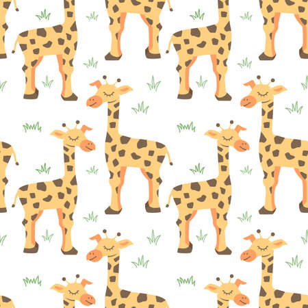 Vector seamless pattern with Couple giraffes, can be used as a print on children s clothing 矢量图像