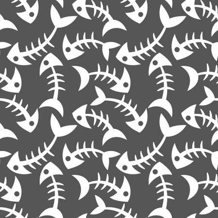 Seamless, endless pattern with fish bones on dark background