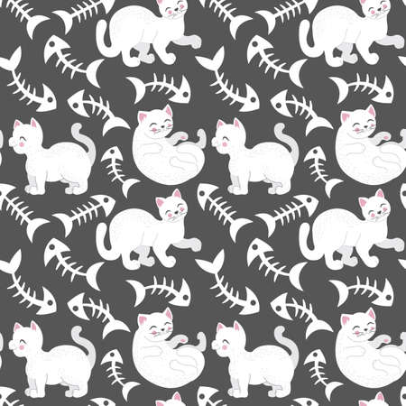 Cute seamless pattern with funny, white cat and fish bones, Great for baby and kids design
