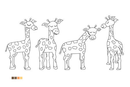 Coloring book for children, set of giraffes, illustration of cartoon giraffe
