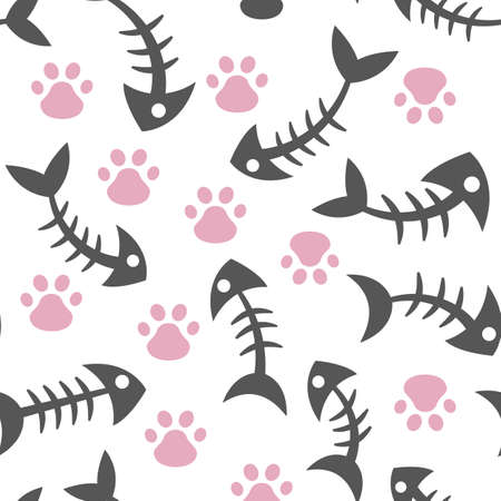 Seamless, endless pattern with cat s paw and fish bone on a dark background, illustration with pattern with cats paw prints