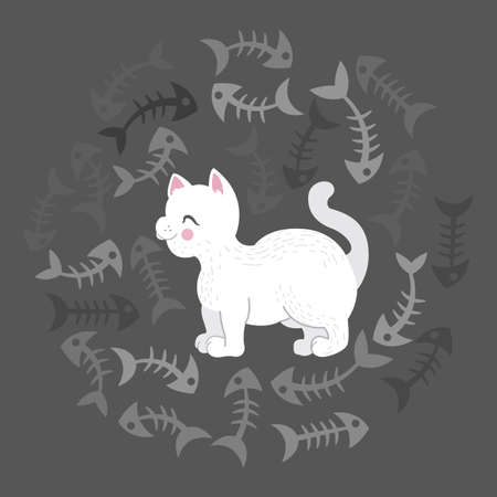Illustration of a white cat surrounded by a fish bones cartoon-style illustration on a dark background Stock Illustratie