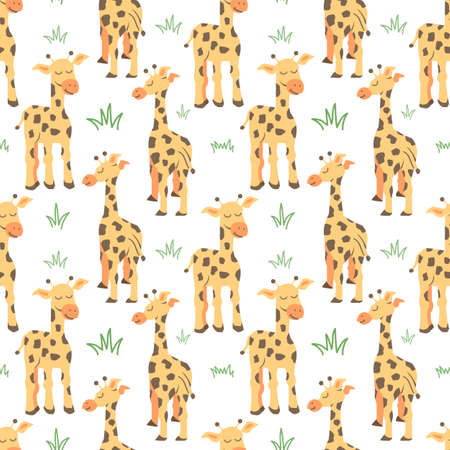 Vector seamless pattern with Couple giraffes, can be used as a print on children s clothing, vector Illusztráció