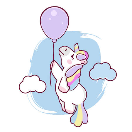 Unicorn with balloon, illustration of character design fashion graphic T-shirt graphics, vector eps 10 format Stock Illustratie