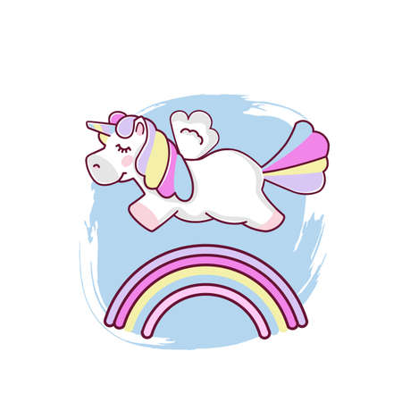 Cute magical unicorn and rainbow, design isolated on white background. Print for t-shirt or sticker. Romantic hand drawing illustration for children. Vector eps 10 format
