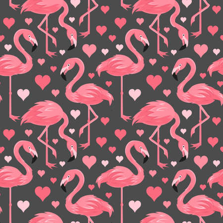 Seamless, endless pattern with flamingo, Love Hearts, vector   illustration 向量圖像