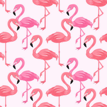 Vector seamless pattern with flamingos, vector  format