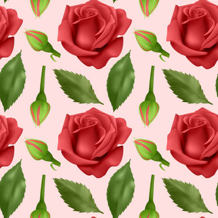 Seamless, endless pattern with roses and leaves, bright red roses and green leaves on seamless background, design for your packing. Vector illustration