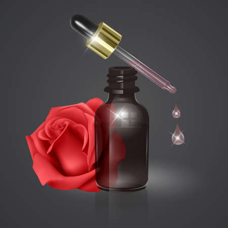 Essential rose oil, realistic 3d illustration. Hydration serum with rose extract. Perfect for advertising, flyer, banner, poster. Vector Illusztráció