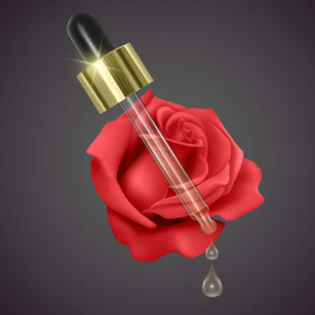 Essential rose oil, realistic 3d illustration. Hydration serum with rose extract. Perfect for advertising, flyer, banner, poster. Vector Vettoriali
