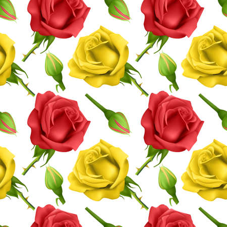Seamless pattern with bloom roses, Can be used for wallpapers, posters, wrapping paper. Vector