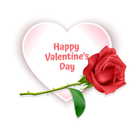 Greeting card happy Valentines day with background decorated with red roses. Vector illustration Ilustração Vetorial