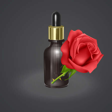 Essential rose oil, realistic 3d illustration. Hydration serum with rose extract. Perfect for advertising, flyer, banner, poster. 向量圖像