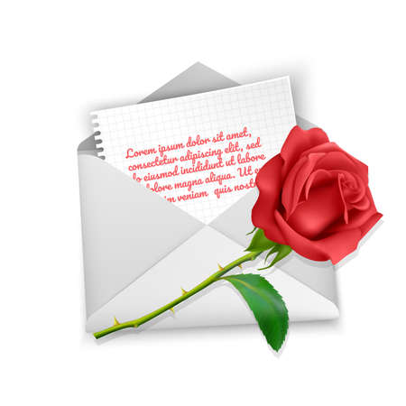 White Realistic envelope and red rose on white background, the envelope with love message inside. Romantic Letter in realistic style. Vector EPS 10 illustration