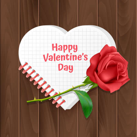 Valentines day greeting card, a card with a heart-shaped notebook and a realistic rose on a wooden background. Vector illustration