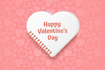 White frame with shape of heart on Festive pink background, pattern with hearts on light pink pastel background. Wedding. Birthday. Mothers Day. Valentine Day. Top view, copy space, Vector art Vettoriali