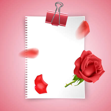 Greeting card template, March 8, Happy Womens Day or Valentines day, design with red rose and a piece of paper with place for text