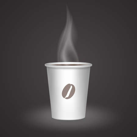 Open paper cup with hot drink, Hot coffee in white paper cup, realistic vector illustration