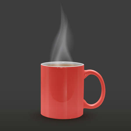 Cup of Hot tea in red realistic mug on dark background, vector illustration Vettoriali