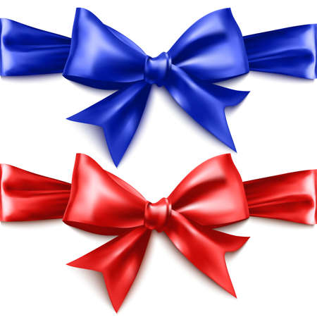 Set of realistic bows of red and blue colors on white