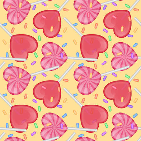 Seamless pattern with candy with shape of hearts. Vettoriali