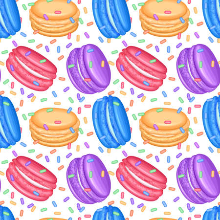 Seamless pattern with candy colorful macaroons.