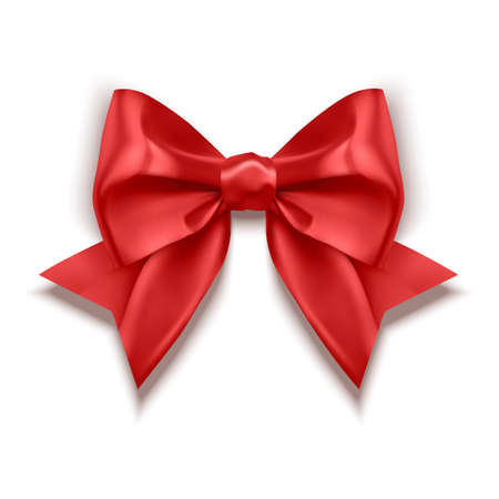 Realistic red bow, Ribbon isolated on white background. Vector eps 10 illustration