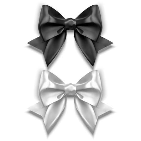 Set of Realistic bows, Ribbon of black and white colors isolated on white background. Vector eps 10 illustration Vettoriali