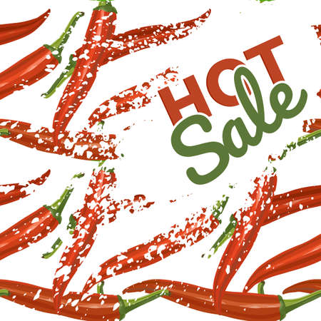 Sale Poster Template. on background with red hot chili peppers, Best Hot Offer. Vector illustration