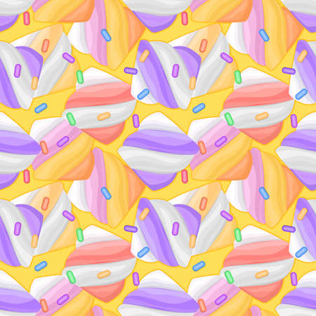 Seamless pattern with marshmallows on yellow background. Color illustration of dessert in cartoon style.