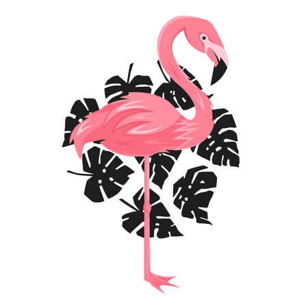 flamingo and leafs of monstera, vector illustration, decorate for your design Vettoriali