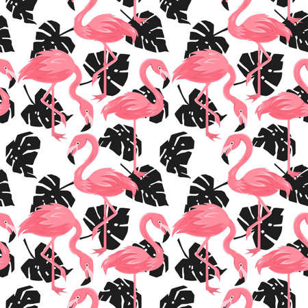 Seamless, endless pattern and monstera leaves, tropical illustration in vector format
