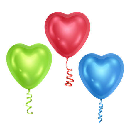 Realistic 3D glossy balloons with shape of hearts Decorative element for party invitation design or greeting cards, Vector format