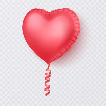 Realistic 3D glossy balloon of pink colors, Balloon with shape of heart, Decorative element for party invitation design or greeting cards, Vector format