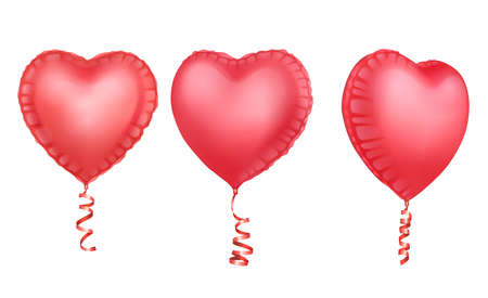 Realistic 3D glossy balloons of pink colors. Balloons with shape of hearts Decorative element for party invitation design or greeting cards, Vector format