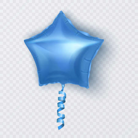 Vector balloon with shape of star of blue color, balloon on white background. Festive decoration element for Valentine's Day or Wedding. Vector illustration Vettoriali
