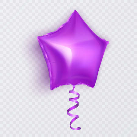 Vector balloon with shape of star of purple color, balloon on white background. Festive decoration element for Valentine's Day or Wedding. Vector illustration Vettoriali