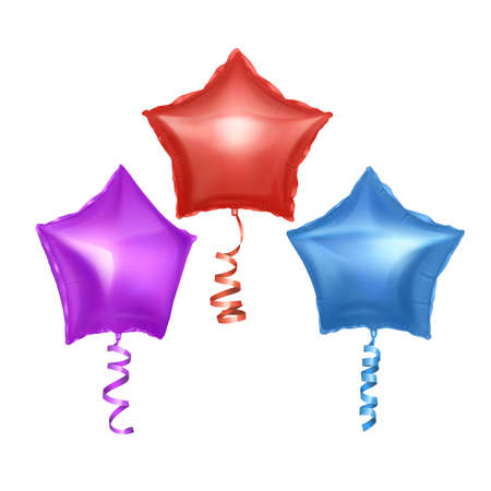 Vector balloons set with shape of stars. Bright colorful balloons on white background. Festive decoration element for Valentine's Day or Wedding.