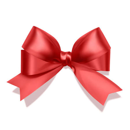 Realistic red bow, Ribbon isolated on white background. Vector eps 10 format Vettoriali