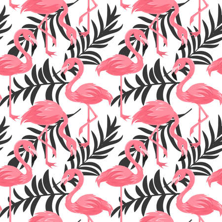 Seamless, endless pattern and palm leaves, tropical illustration in vector eps 10 format 矢量图像